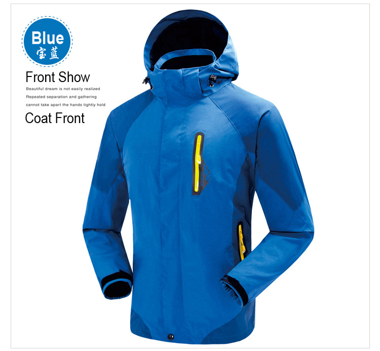 ФОТО 2014 Big Sale Men Outdoor Jakcet Hoodie Waterproof Jacket Winter Jackets Suit Removable Liner  2In1 High Quality Jacket