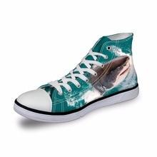 Noisydesigns High top canvas women sneakers vintage vulcanized flat shoes ladies sea animal shark green 3D print girls footwear