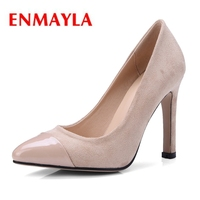 ENMAYER Pointed Toe Casual Flock Thin Heels High Heels Shoes Woman Pumps Ladies Shoes Size 34 43 ZYL2200