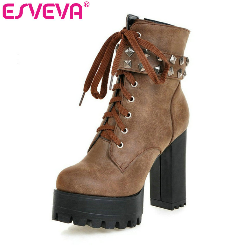 ESVEVA  Square High Heel Shoes Women Punk Motorcycle  Boots Lace-up Rivets Ankle Boots  Platform Ladies Fashion Boot Size 34-43 vinlle women boot square low heel pu leather rivets zipper solid ankle boots western style round lady motorcycle boot size 34 43