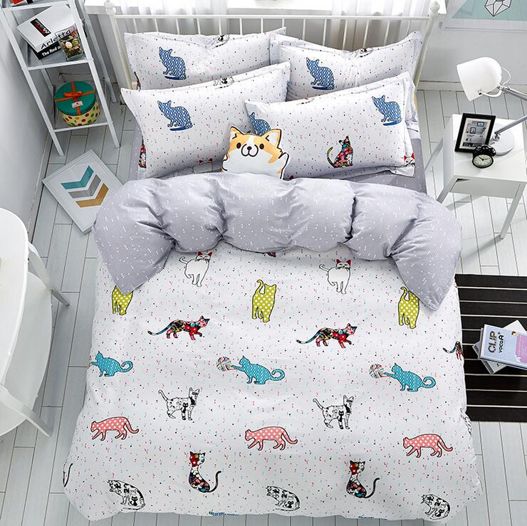 2017 new 4pcs Lovely cat cartoon kids bedding set Queen ...