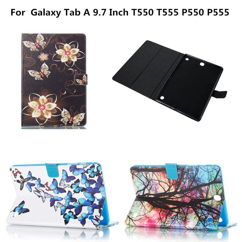 Cute Cover PU Leather Wallet Funda Tablet Case for Samsung Galaxy Tab A 9.7 inch P550 P555C SM-T550 SM-T555 Cartoon Pattern bf luxury painted cartoon flip pu leather stand tablet case for funda samsung galaxy tab a 9 7 t555c t550 sm t555