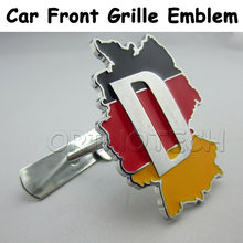 Car Styling 3D Metal Germany Deutschland Flag Map Car Front Grille Emblem Badge For BMW Volkswagen Opel Skoda Citroen SEAT Mazda(China)