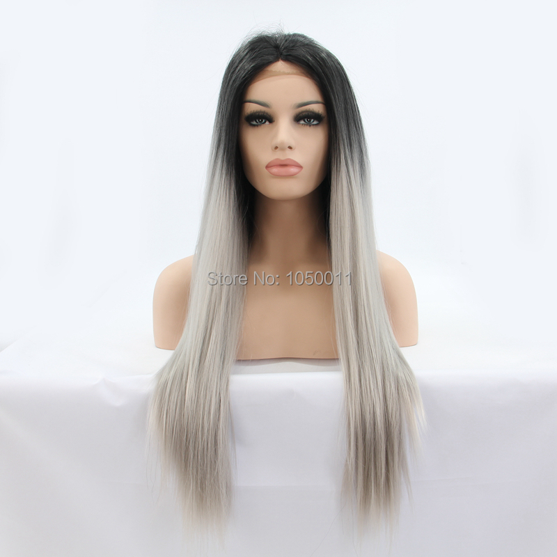 Japanese fiber heat resistant Synthetic Lace Front wig glueless straight black/grey ombre two tone front lace party color