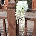 Gota romántica ramo de la boda cascada barato artificiales boda ramos de boda para novias de dama de honor mano que sostiene la flor 2016