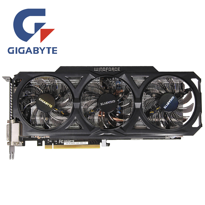 GIGABYTE GV-N760OC-2GD Video Card 256Bit GDDR5 GTX 760 N760 Rev.2.0 Graphics Cards For NVIDIA Geforce GTX760 Hdmi Dvi Cards