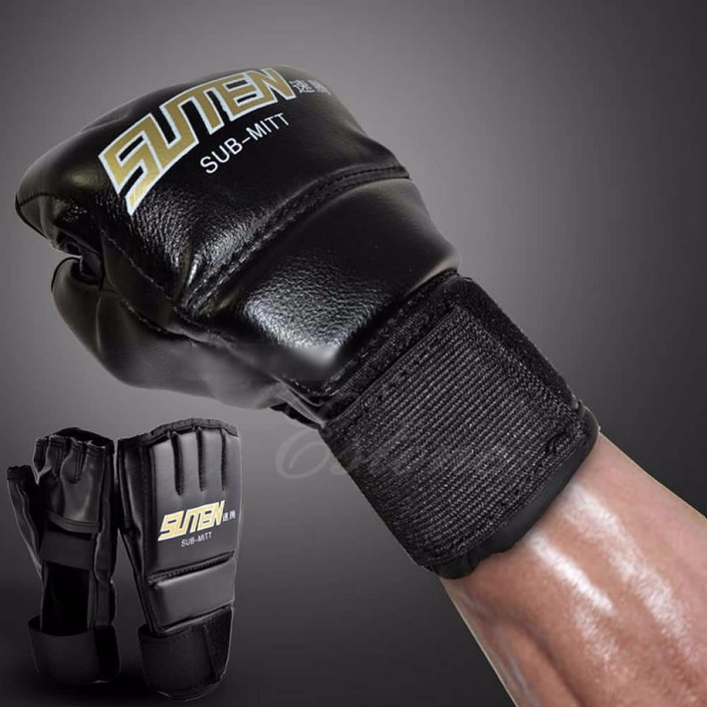 Gym Kühle MMA Muay Thai Trainings Boxsack Halb Mitts Sparring Boxen Handschuhe image