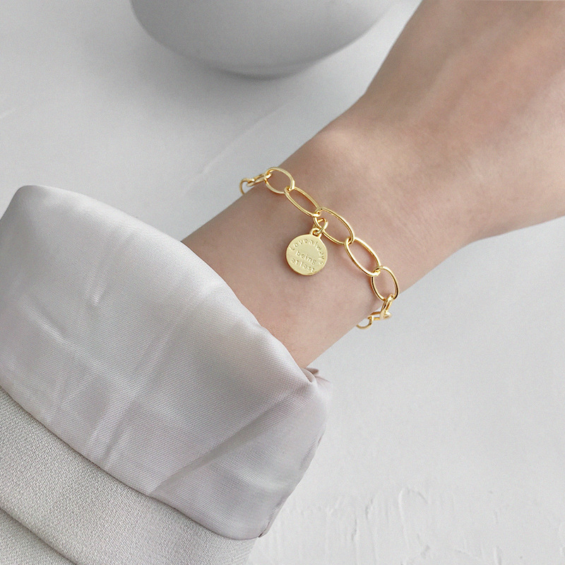 Silvology 925 Sterling Silver English Round Card Chain Bracelets Love Always Being Atlast Lette Female Bracelets Summer Jewelry