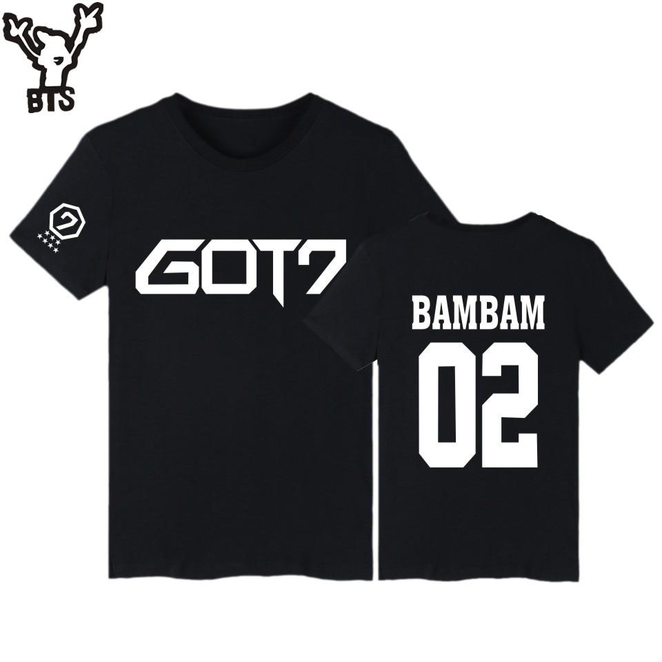 BTS GOT7 Kpop BAMBAM חולצות JB ג 'קסון קצר חולצת טריקו עם חולצה 7 Kpop היפ הופ חולצה T נשים חולצת טי