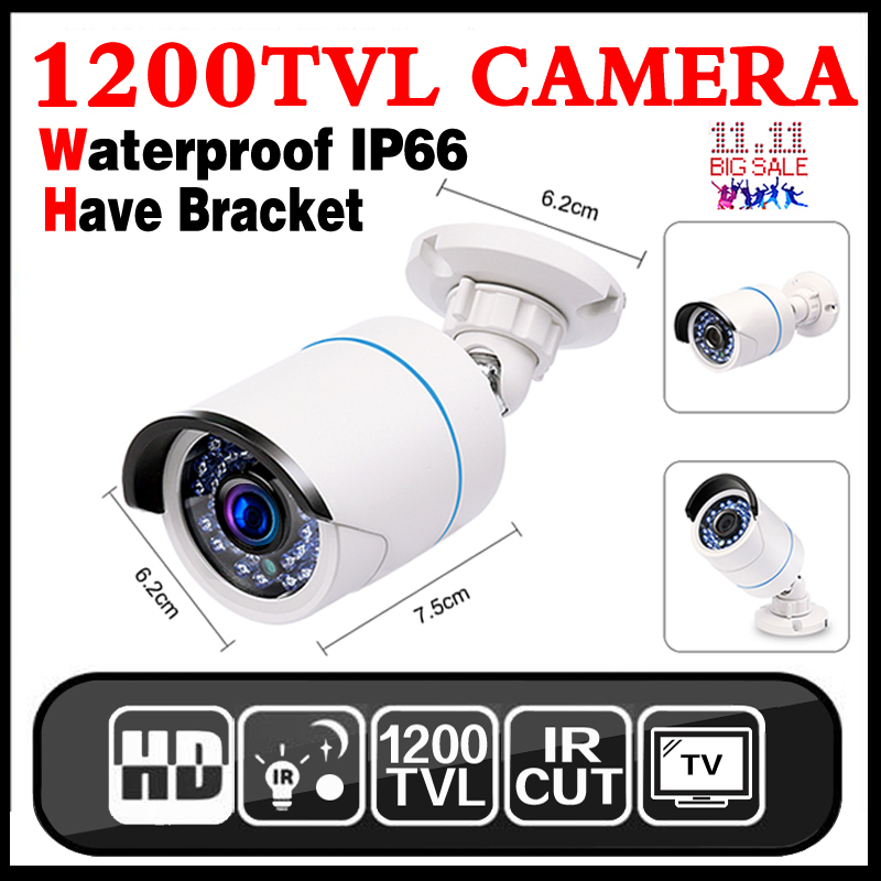 Metal Case 1200TVL HD Mini CCTV Camera Outdoor Waterproof IP66 24 LED Light IR-CUT infrared Security Surveillance Analog Camera