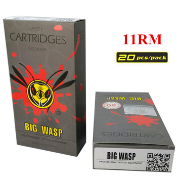 BIGWASP Disposable Gray Cartridge Needle 11 Curved Magnum (11RM) Tattoo Needle 20Pcs/Box Supply For Tattoo Machine