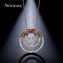 NEWBARK 3 Circles Necklaces & Pendants Rose And White Gold Plated Necklace With Tiny CZ Paved Collares Women Gift Accessories