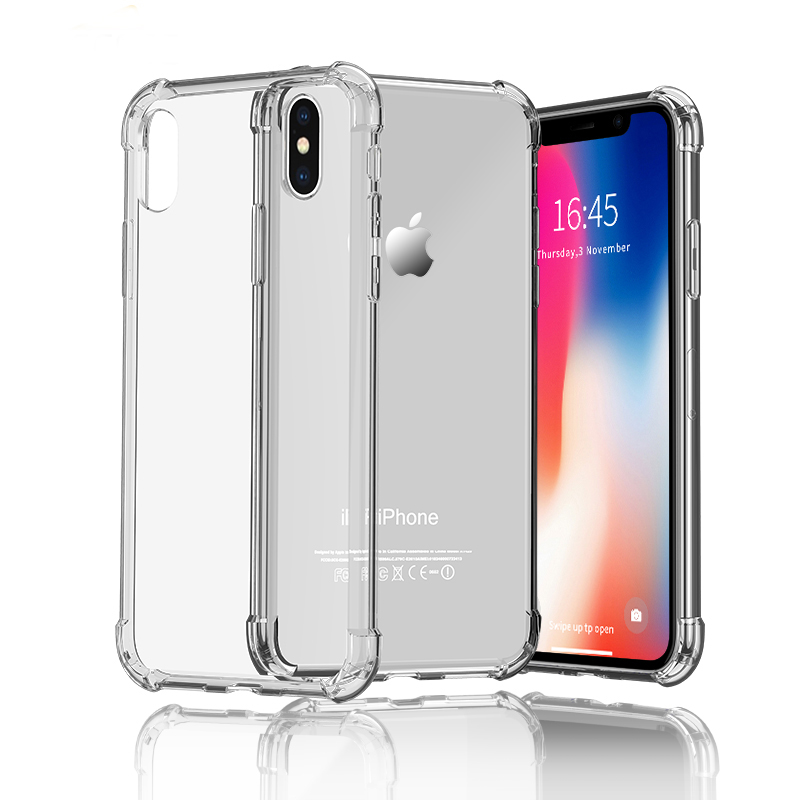 10pcs TPU Case For iPhone XR XS MAX Knockproof Case For iPhone X 7 8 Plus 5 5S SE 6 6S Transparent Back Covers Capinhas iPhone XR