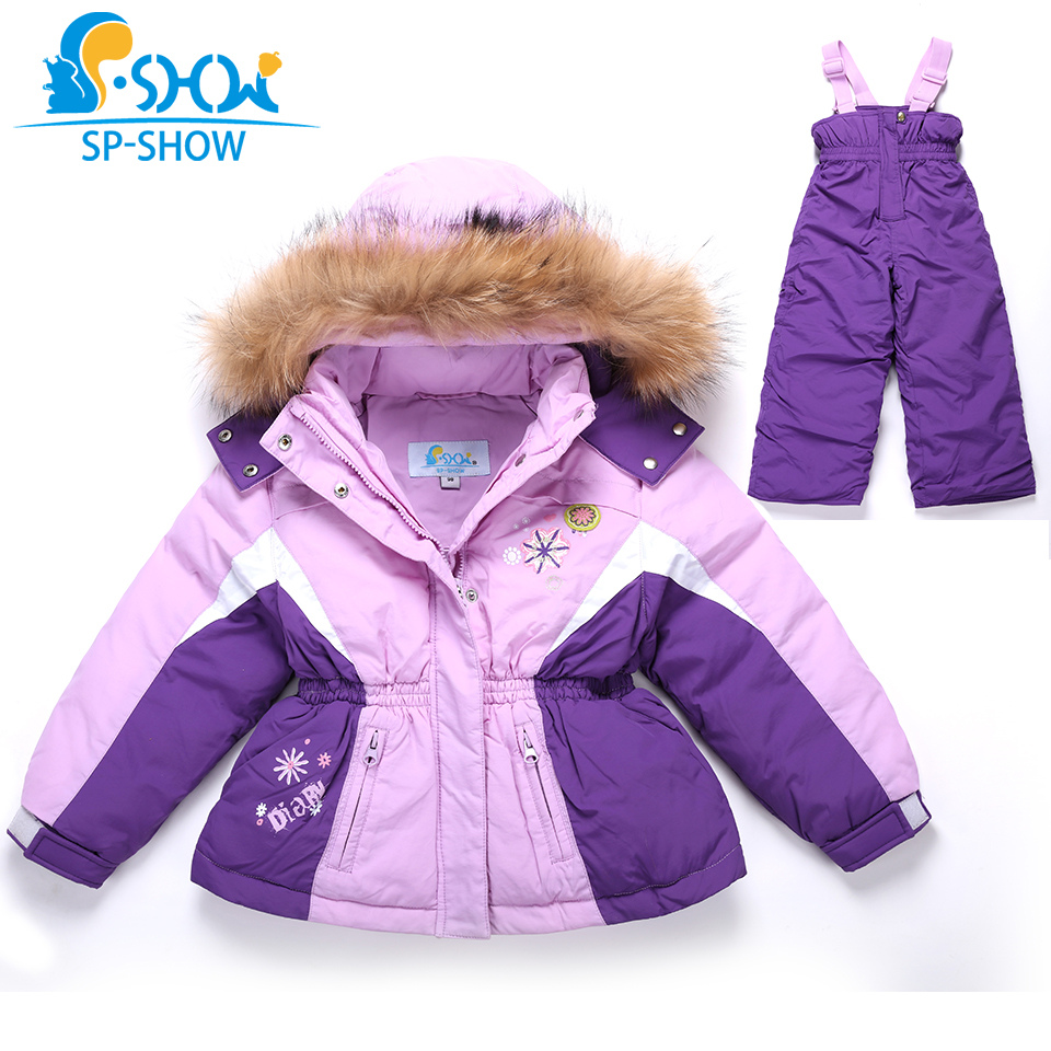 SP SHOW luxury brand Winter children Girl Clothing sets hooded two-piece suit with high collar zip 3--7 Age Down & Parkas 0206 велосипед pegasus avanti sport girl 7 sp 24 2016