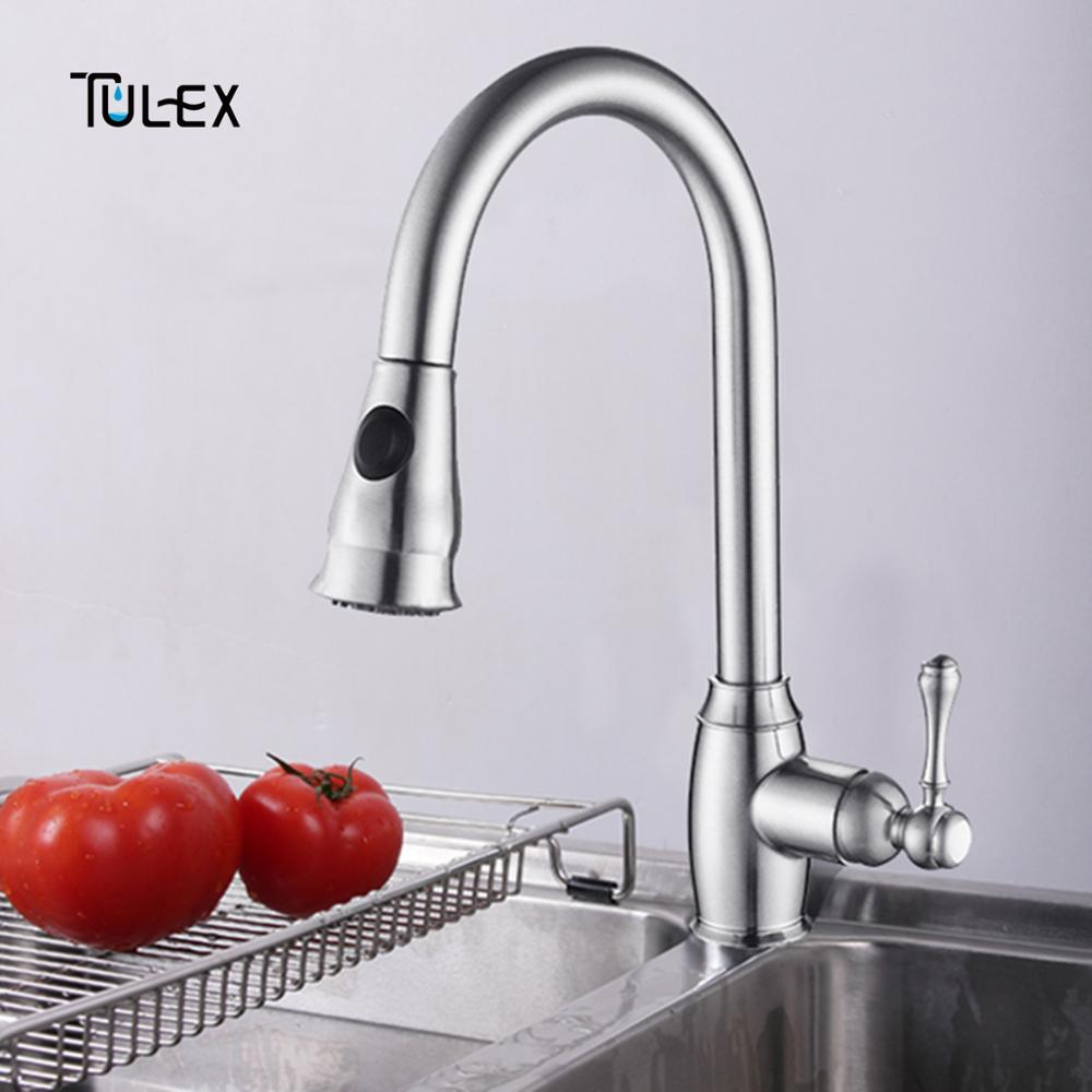TULEX Kitchen M Faucet 1 Set Flexible Mixer Polished Chrome Single Handle Pull Down Spout Crane Tap Hot And Cold Water micoe hot and cold water basin faucet mixer single handle single hole modern style chrome tap square multi function m hc203
