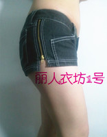 Sexy new slim slim waisted shorts denim shorts side zipper Hipster trousers summer temptation