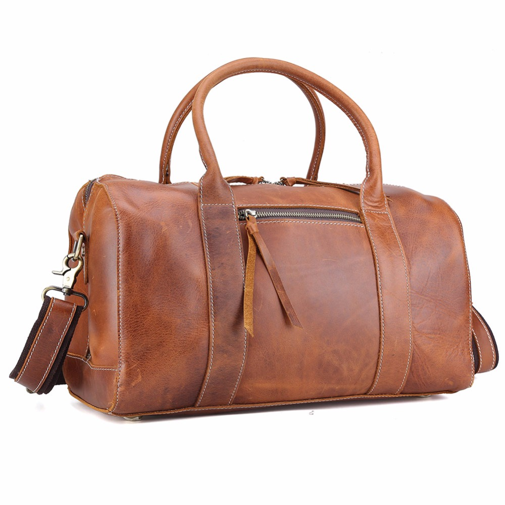 Real Bull Leather Luggage Suitcase Hand Bag Shopping Large Overnight Unisex Duffle Bag Travel Bag 3070