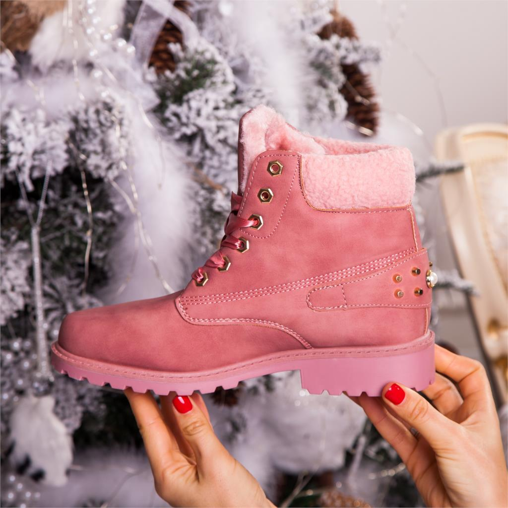 Fujin women winter boots Platform Pink Women Boots Lace up Casual Ankle Boots Booties Round Women Shoes winter snow boots Ankle