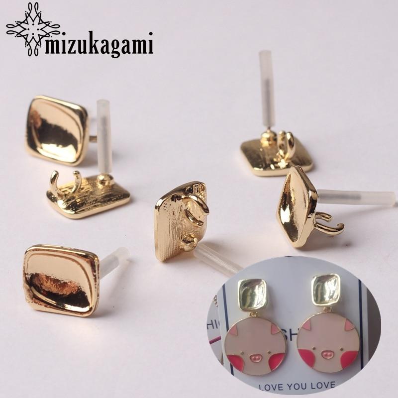 20pcs Silver Golden Stud Earrings Base Connectors Linker For Earrings DIY Making