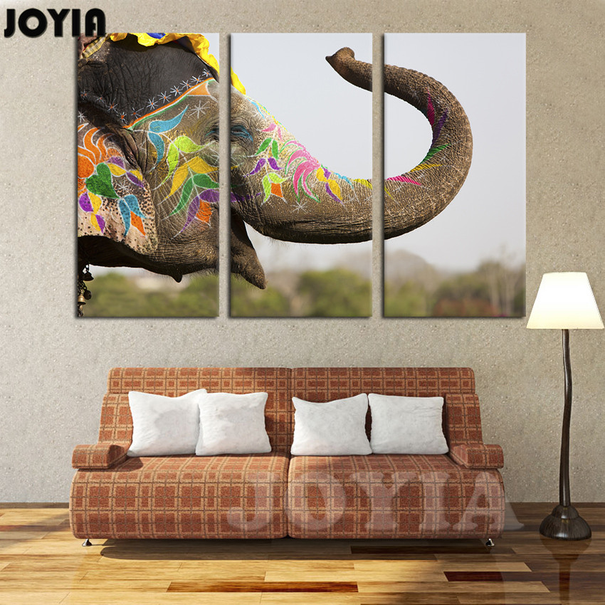 Canvas art picture color elephant nose up wall paintings 3 piece large painting for living room for Canvas prints childrens bedrooms