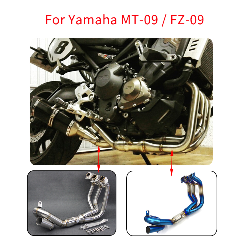 MTCLUB MT09 Motorcycle Modified Muffler Exhaust Full System Contact Mid Pipe Slip On For Yamaha MT