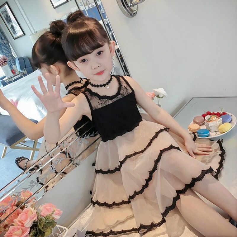 Vestido da menina de Verão Estilingue Grande Garoto Colete Cor Pura UMA Senhora Estrangeira 8 Gás Crianças Vestidos para Meninas Vestido da Dança -12 anos de Idade