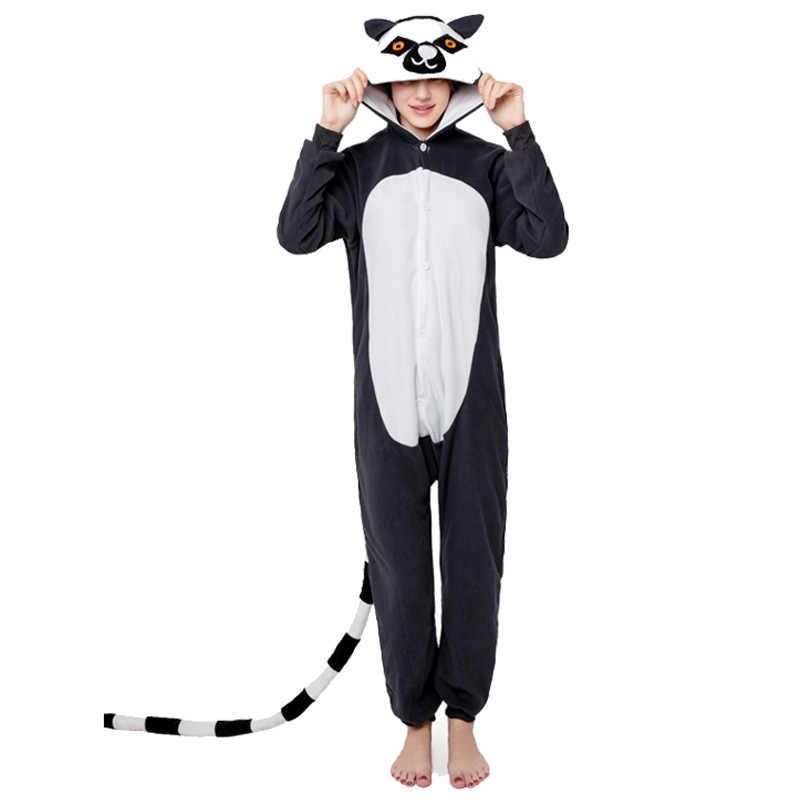 Длинный хвост обезьяны кигуруми Свободный комбинезон для косплея Лило костюм ститча для женщин с капюшоном животных мультфильм пижамы единорог кигуруми комбинезоны