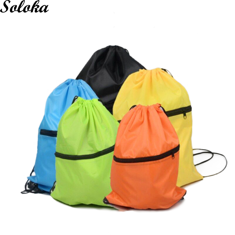 1Pc Polyester Drawstring Bags zipper Gym bag Advertising gift bag Travel Outdoor Designs Simple Random