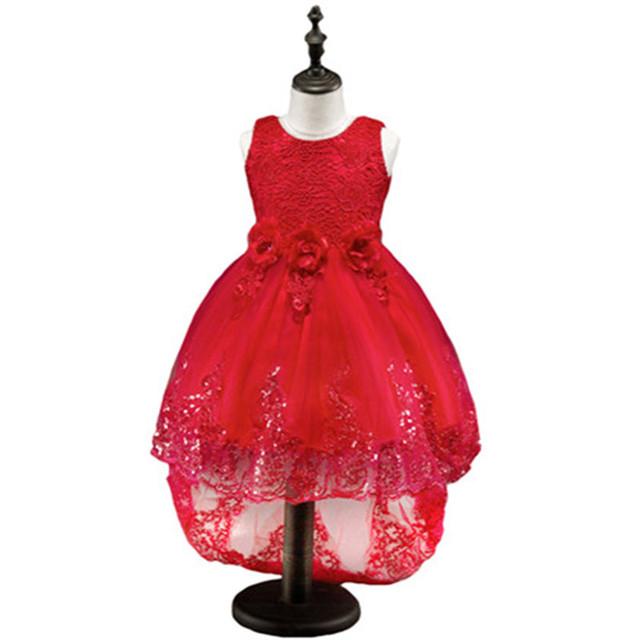 Niña Vestido de flores Para La Fiesta de Boda Pétalos de Tul Vestidos largos de cola Ropa de Las Muchachas ropa Para Niños Fiesta De Navidad Del Traje rojo