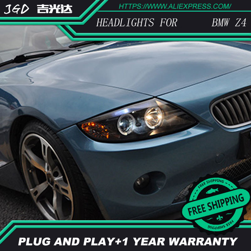 Free shipping ! Car styling LED HID Rio LED headlights Head Lamp case for BMW Z4 2003-2008 Bi-Xenon Lens low beam