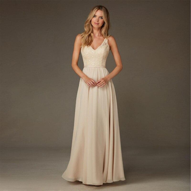 Elegant A-Line V-Neck Chiffon Lace Sequins   Bridesmaid     dress   YY-201