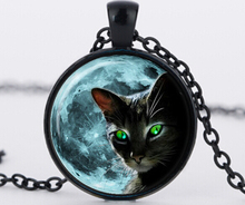 Blue full moon black cat glass necklace silver chain summer style necklace charm green cat eye glass  pendant jewelry bijouterie