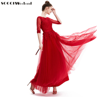 SOCCI Red Muslim Formal Long Evening Dress Lace Appliques Half Sleeve Back Lace Up Women Dresses