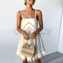 Cuerly chic striped bohemian beach dress women casual ruffle strap sundress mini female L5