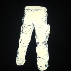 Image 3 - Autumn men casual reflective pants hip hop joggers women full reflective hiphop dance trousers night club pants stage costume