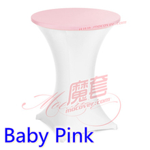 baby pink colour spandex top cover for round cocktail lycra table cloth wedding banquet party cocktail table decoration sale