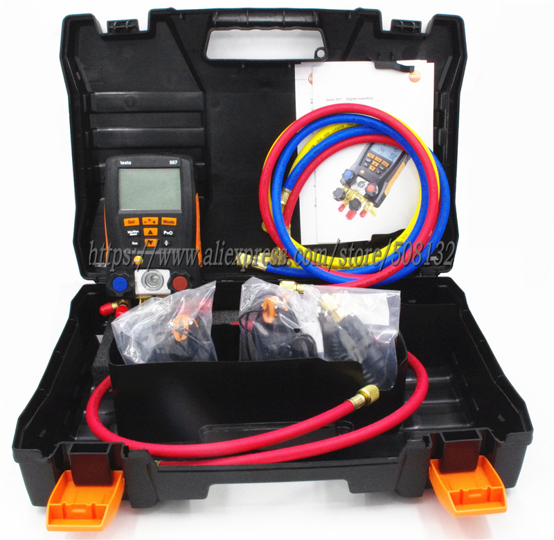 Testo 557 Digital Manifold Gauge 4 way clamp temperature probes case external vacuum Pirani gauge Bluetooth
