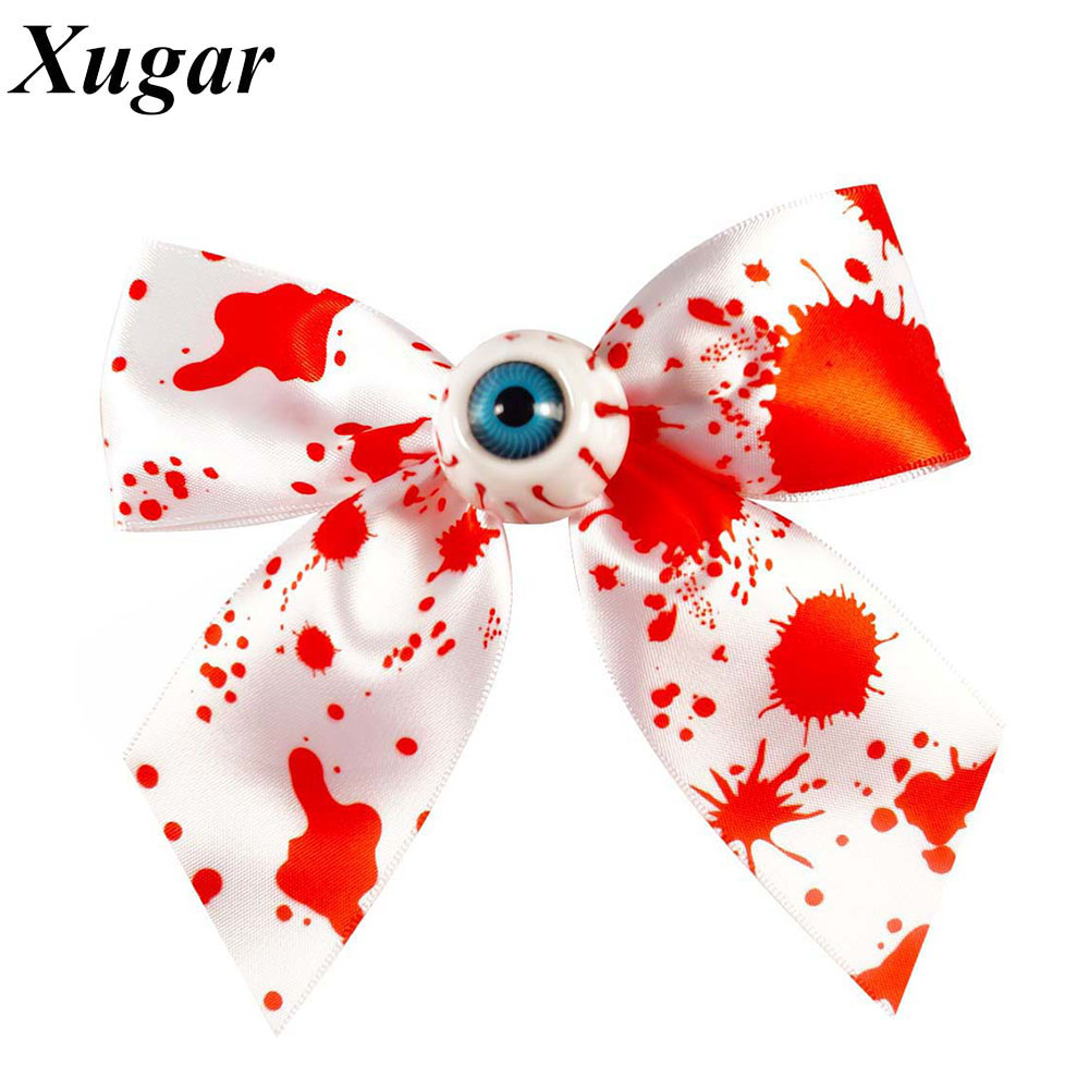 4.5'' New Style High Quality Colorful Printed Grosgrain Ribbon Hair Bow With Eye Halloween Girl Children Headwear new product high quality grosgrain