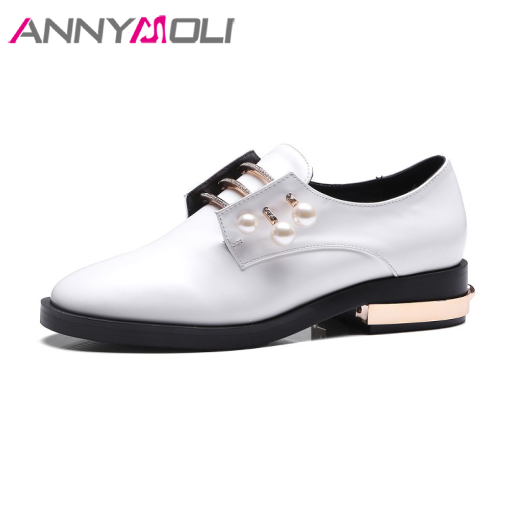 ANNYMOLI Design Women Derby Shoes Pearls Flats Round Toe Lace Up Casual Shoes Spring Creepers Retro Flat Footwear Black White annymoli women flat platform shoes creepers real rabbit fur warm loafers ladies causal flats 2018 spring black gray size 9 42 43