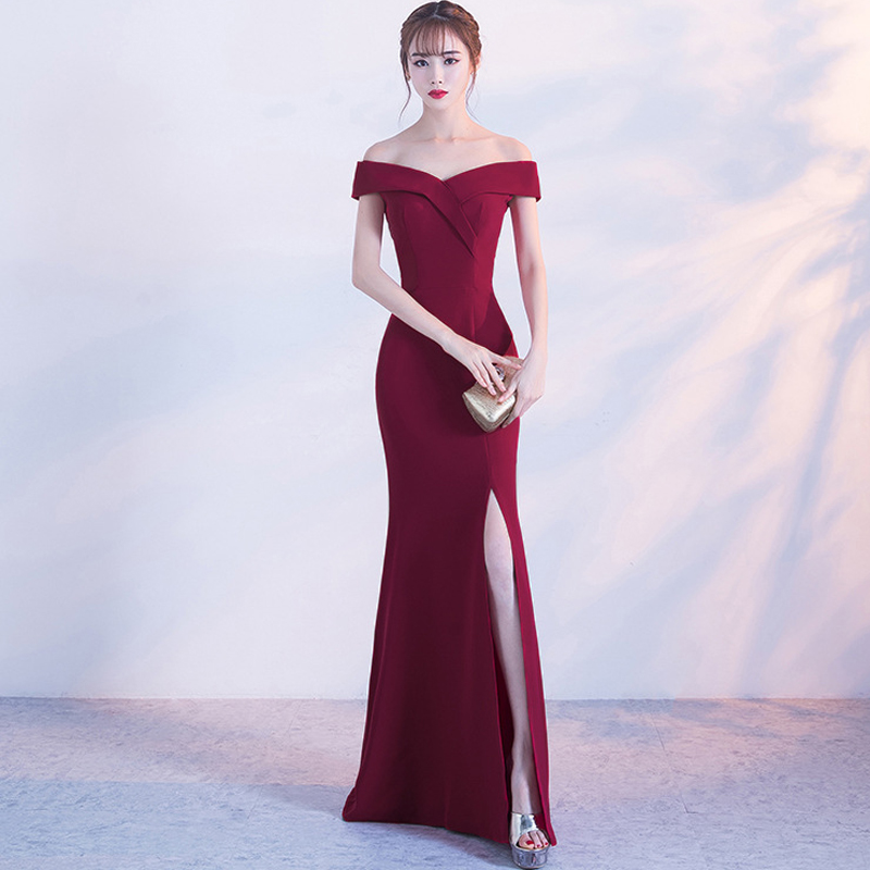 Boat Neck Bridesmaid Dress New Arrive Real Simple Werdding Party Formal Dress YD8642