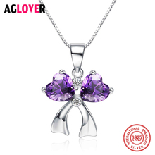 Real 925 Sterling Silver Purple Zircon Bow-knot Necklaces Pendant Fashion Sterling Silver Jewelry Statement Necklace For Women new 925 sterling silver zircon square circle necklaces pendant fashion sterling silver jewelry statement for women bijoux