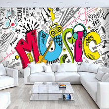Modern Simple Music Theme Photo Wallpaper Personality Creative 3D Graffiti Wall Mural KTV Bar Kids Bedroom Home Decor Wal Papers(China)