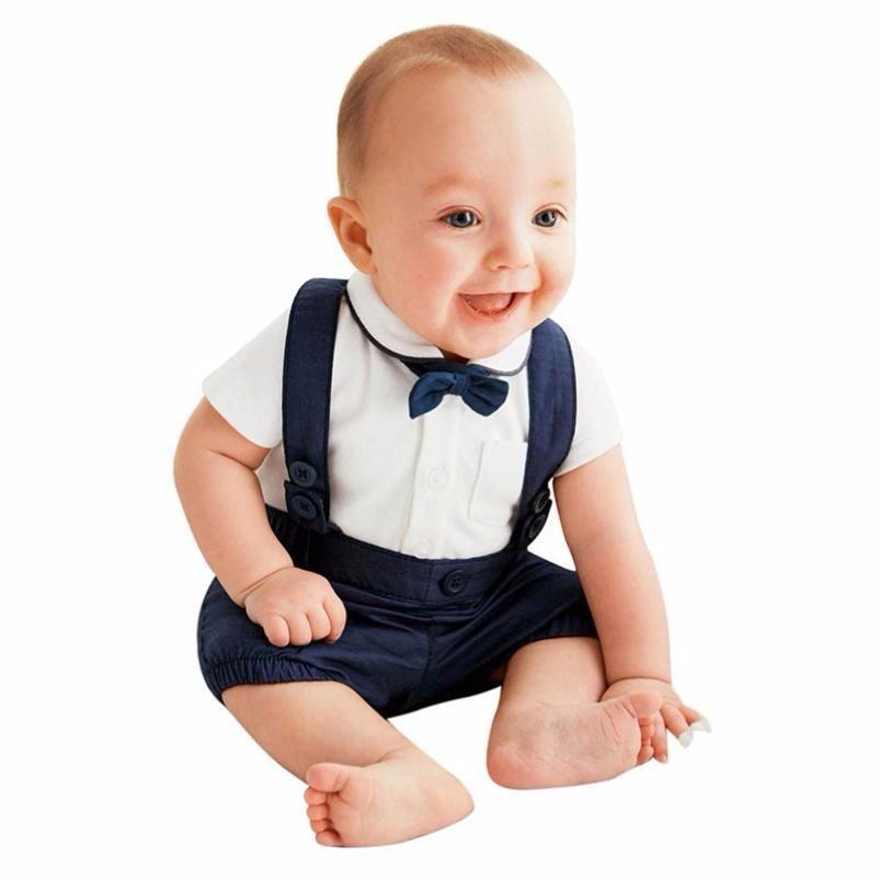 MUQGEW Store MUQGEW 2pcs Boys Suits Toddler Baby Infant Boys Outfits Bow Tie+T-shirt+Strap Kids Clothes Set Cotton Vetement Enfant Z06
