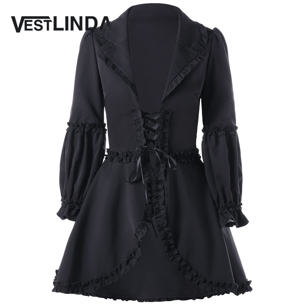 VESTLINDA Winter Coat Women Black Ruffle Trimmed Lace Up Coats Trench Gothic Style Long Skirted Overcoat Casual Womens Outerwear ...