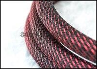 10 M 16 MM Nylon Mesh Rood + Zwart (SSS) Screen Gevlochten Kous Voor DIY HIFI audio video kabel draad