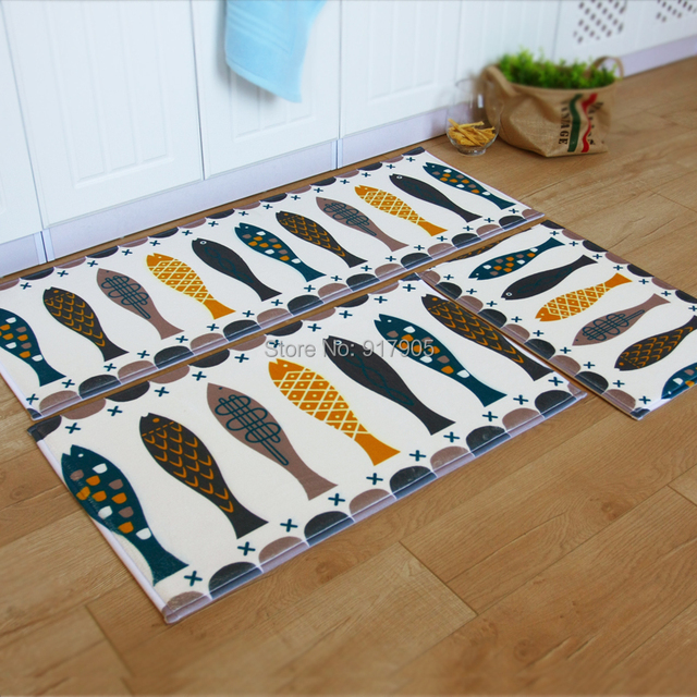 3 Piece Fish Kitchen Rugs Coral Fleece Small Rugs Washable Rugs Modern Rug  Pad Kids