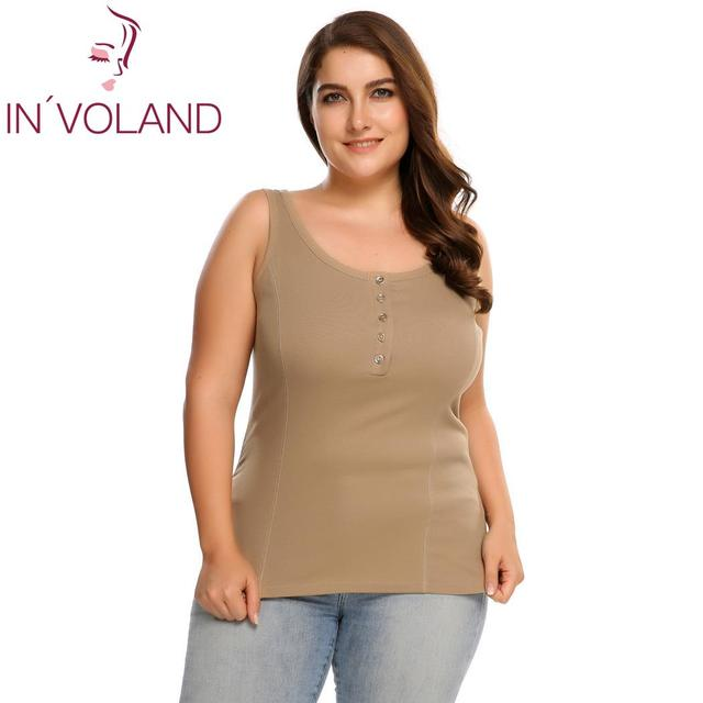 IN'VOLAND Women's Casual Tank Tops Summer Plus Size Sleeveless Scoop Neck Slim Button Front Solid Ladies Tops Overesized 5XL