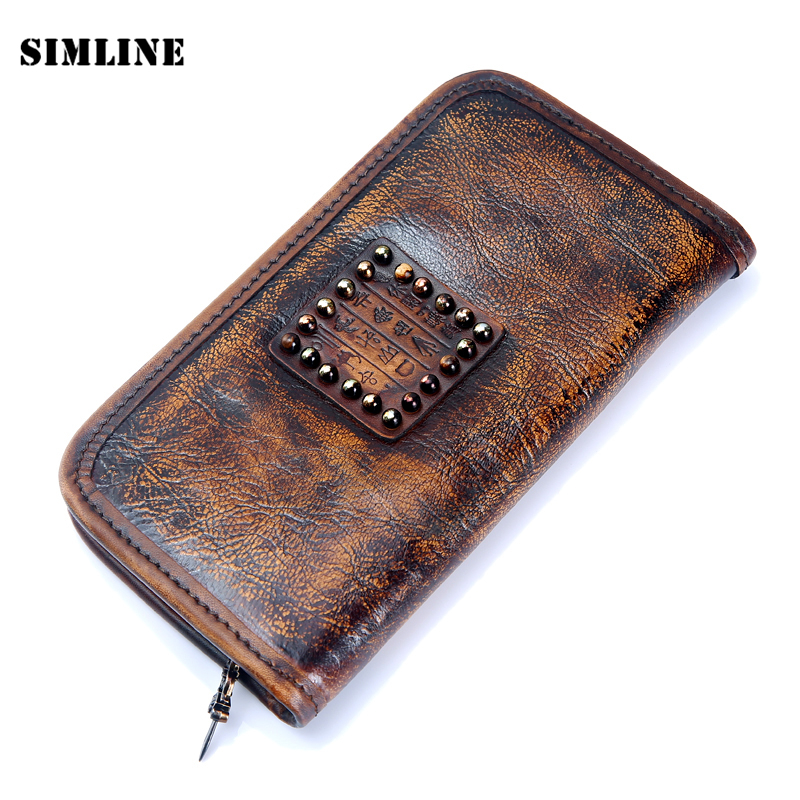 Luxury Brand Vintage Handmade 100% Genuine Vegetable Tanned Leather Cowhide Men Mens Women Long Wallet Wallets Purse Clutch Bag