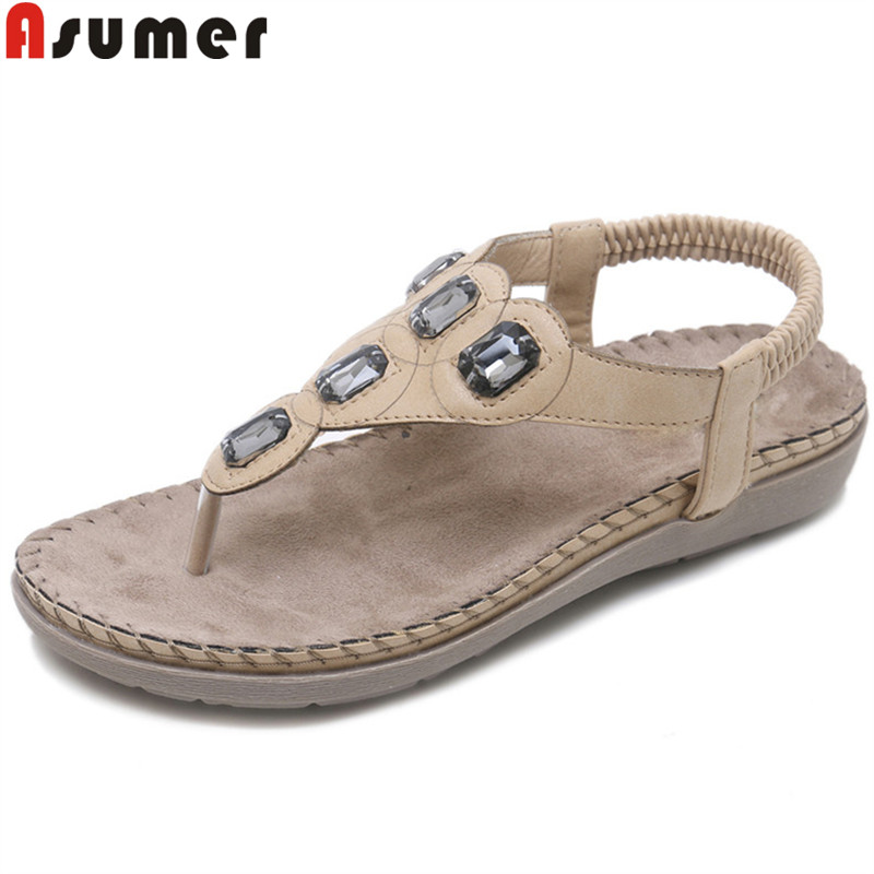 ASUMER Shoes Crystal Sandals Flat Big-Size Casual Woman New with Female Hot-Sale