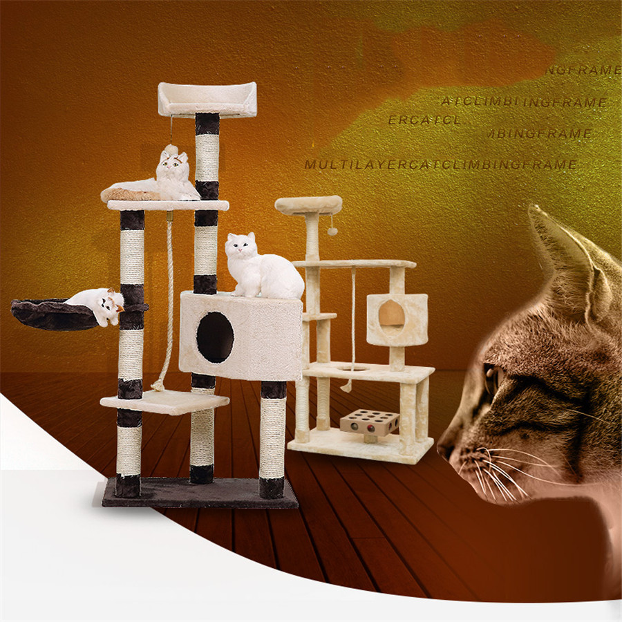 Wooden Pets Cat Climbing Frames Toys Interactive Gatos Shelves Pet Interesting Soft Toys Supplies Products For Kittens QQM2192